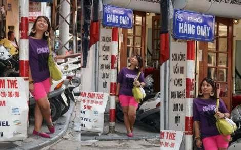 Wiwik Budi lagi backpack di Hanoi