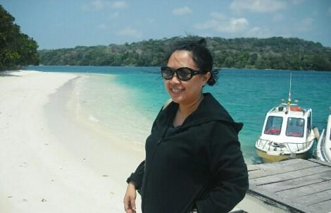 Nadja sedang di Pulau Peucang, Ujung Kulon - Jawa Barat