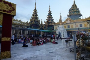 Praying in Shwedagon Pagoda